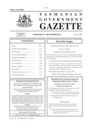 19 December 2012 - Tasmanian Government Gazette
