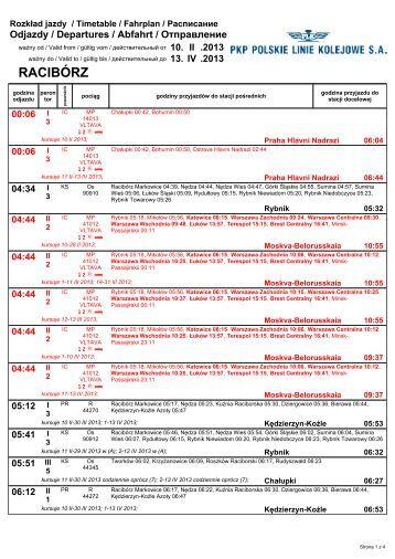 Rozkład jazdy pociągów (10.02.-13.04.2013) dla stacji Racibórz