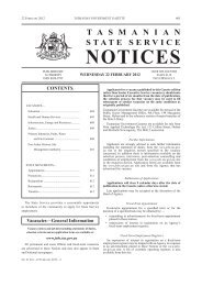 State Service Notices 21216 - 22 February 2012 - Tasmanian ...