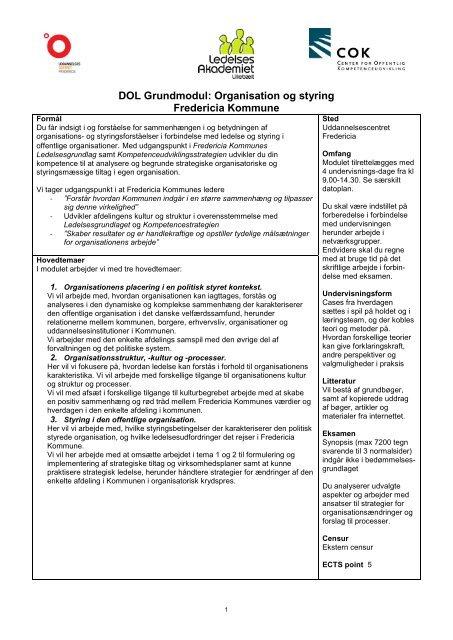 DOL Grundmodul: Det personlige lederskab - ucf.dk