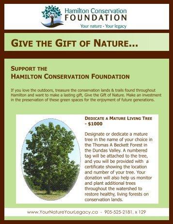 Dedicate a Living Tree 2011 - Hamilton Conservation Foundation