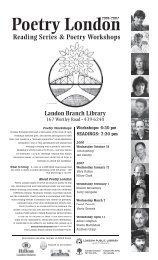 Reading Series & Poetry Workshops - London Public Library