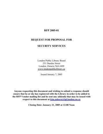 rfp 2005-01 request for proposal for security services