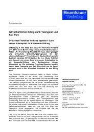 Wirtschaftlicher Erfolg dank Teamgeist und Fair Play - Eisenhauer ...