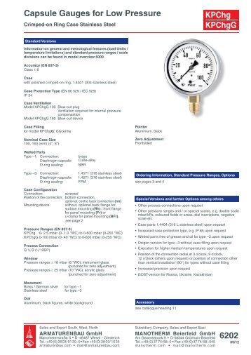 Datenblatt 1211 Rohrfedermanometer Nenngröße 63 ...