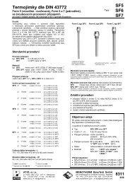 Termojímky dle DIN 43772 SF5 SF6 SF7 - ATIO, sro