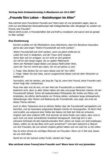 Freunde fürs Leben - Beziehungen im Alter - seniorenratulm.de