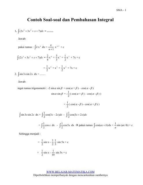 Integral Trigonometri Soal Dan Pembahasan - Guru Ilmu Sosial