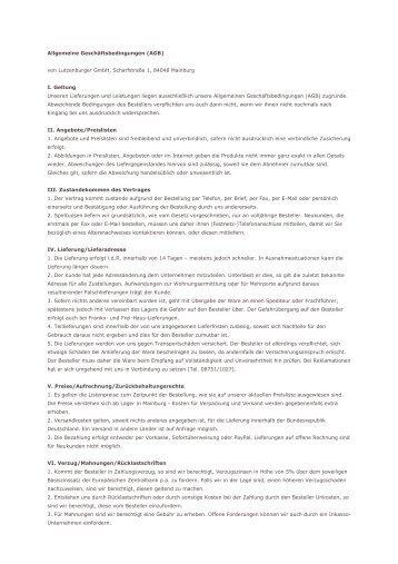 Allgemeine Geschäftsbedingungen (AGB) von Lutzenburger GmbH ...