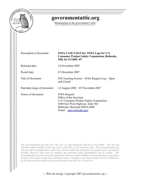 Foia Logs For Us Consumer Product Safety Government