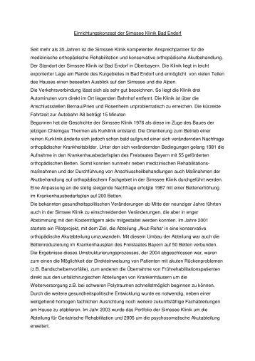 Einrichtungskonzept der Simssee Klinik Bad Endorf Seit mehr als 35 ...