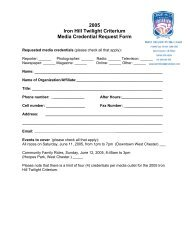 2005 Iron Hill Twilight Criterium Media Credential Request Form