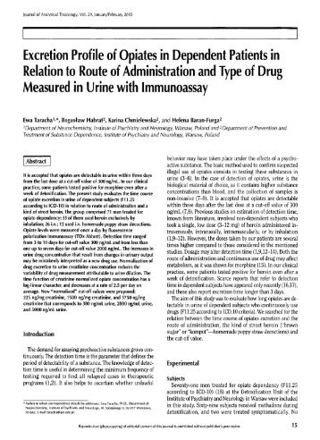 Excretion Profile of Opiates in Dependent Patients in Relation to ...