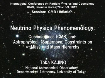 Cosmological and astrophysical constraints on the neutrino ... - KIAS