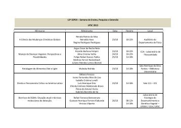 Lista em PDF dos minicursos, com ministrante, data, horário e local ...