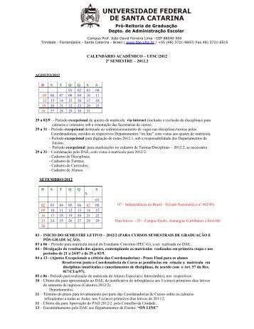 Calendário Acadêmico 2012.2
