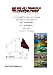 Zonta Rockhampton Potted History - 30 years of Service 2013