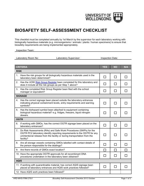 Biosafety Self Assessment Checklist Staff By doing so, you will create a safe environment for happy and productive employees. biosafety self assessment checklist staff