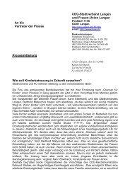 An die Vertreter der Presse CDU-Stadtverband Langen und Frauen ...