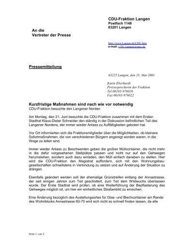 An die Vertreter der Presse CDU-Fraktion Langen Pressemitteilung ...