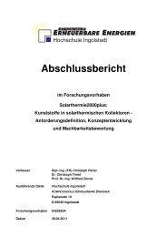 Kunststoffe in solarthermischen Kollektoren - Hochschule Ingolstadt