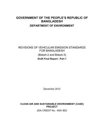 Revisions of Vehicular Emission Standards for Bangladesh - CASE