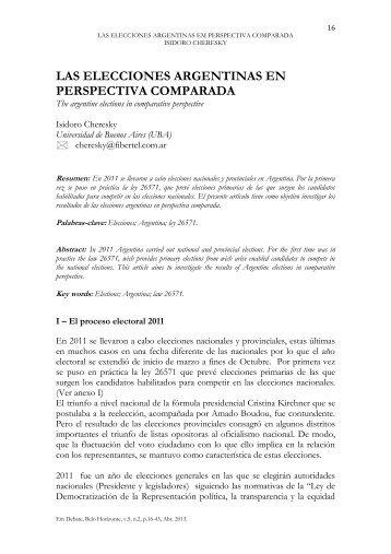 LAS ELECCIONES ARGENTINAS EN PERSPECTIVA COMPARADA