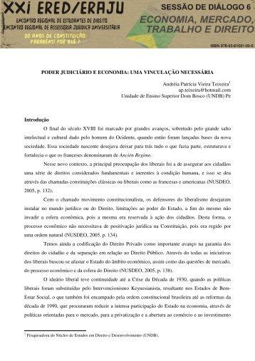 PODER JUDICIÁRIO E ECONOMIA: UMA VINCULAÇÃO ... - Urca