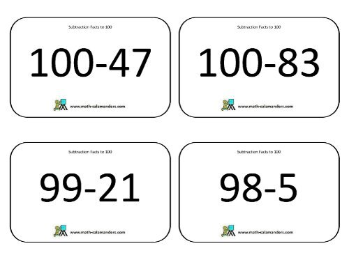 Subtraction to 100 Flashcards with answers - Math Salamanders