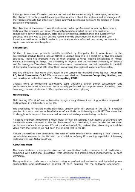 Draft Report on Low-Power PC Project - Computer Aid International
