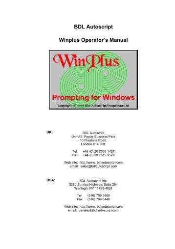 Winplus xlite software autoscript.