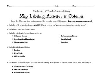 13 Colonies Map/Quiz Printout - Ideal
