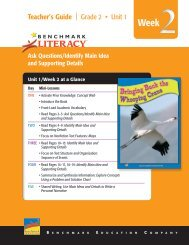 Literacy - Benchmark Resources - Benchmark Education Company