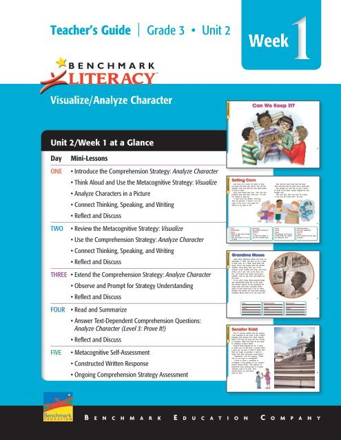 Unit 2/Week 1 at a Glance - Benchmark Resources