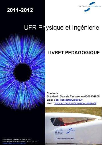 Livret pédagogique 2011-2012 - UFR Physique et Ingénierie