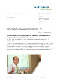 Pressrelease Water Utilities 2009 - Berlinwasser International GmbH