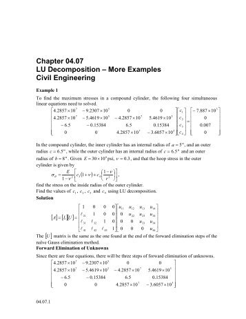 LU Decomposition-More Examples: Computer Engineering