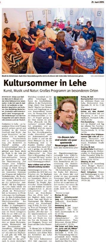 """Vorbericht im Sonntagsjournal """"Kultursommer in Lehe"""""""