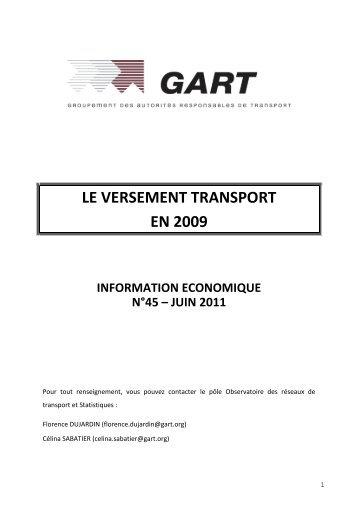LE VERSEMENT TRANSPORT - Gart