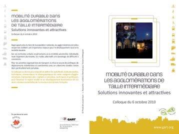 Mobilité durable dans les aggloMérations de taille interMédiaire - Gart