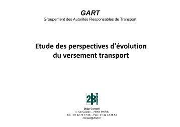 Etude des perspectives d'évolution du versement transport - Gart