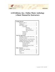 Instructor's Manual - AR Music - AR Editions, Inc.