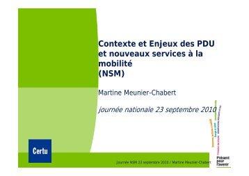 Contexte et Enjeux des PDU j et nouveaux services à la mobilité - Gart