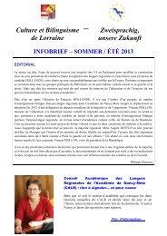 infobrief – sommer / été 2013 - Culture et bilinguisme de Lorraine