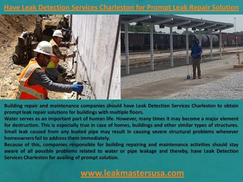 Have Leak Detection Services Charleston for Prompt Leak Repair Solution