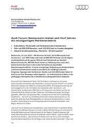Audi Forum Neckarsulm bietet seit fünf Jahren ein einzigartiges ...