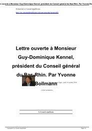 Lettre ouverte à Monsieur Guy-Dominique Kennel, président du ...