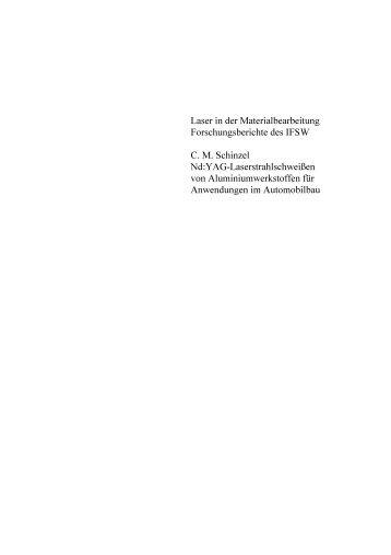 Laser in der Materialbearbeitung Forschungsberichte des IFSW CM ...