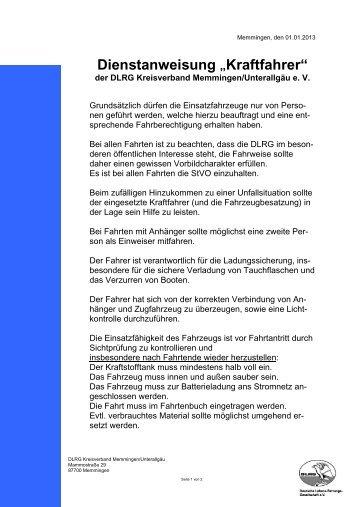 """Dienstanweisung """"Kraftfahrer"""" - DLRG - Memmingen/Unterallgäu eV"""