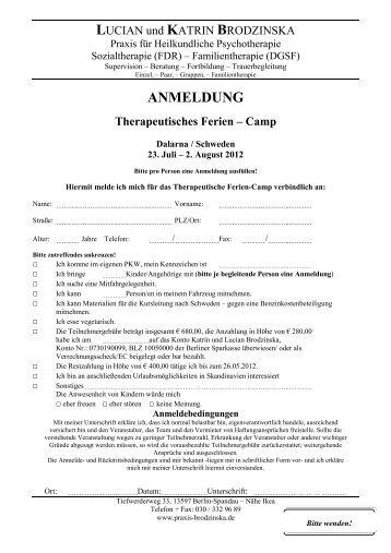 ANMELDUNG Therapeutisches Ferien – Camp - praxis-brodzinska.de